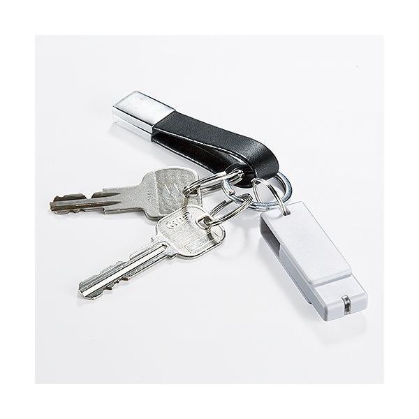 USBメモリ 4GB 紛失防止 ストラップ付き キャップレス ホワイト(即納)|sanwadirect|07