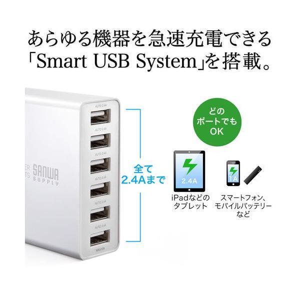 USB充電器 6ポート スマホ iPhone 急速充電 AC接続 スマホアクセサリー(即納)|sanwadirect|02