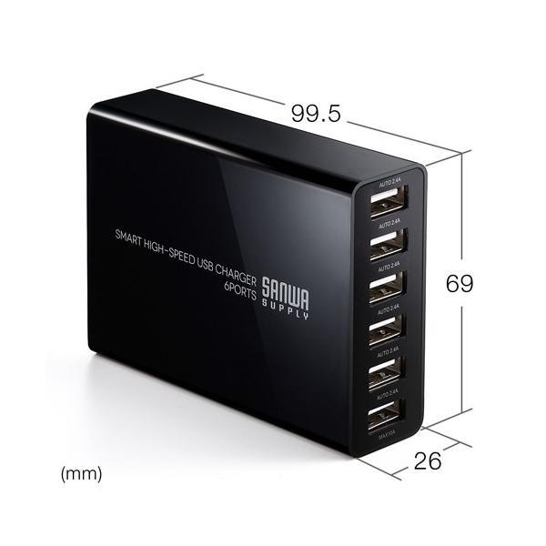 USB充電器 6ポート スマホ iPhone 急速充電 AC接続 スマホアクセサリー(即納)|sanwadirect|06
