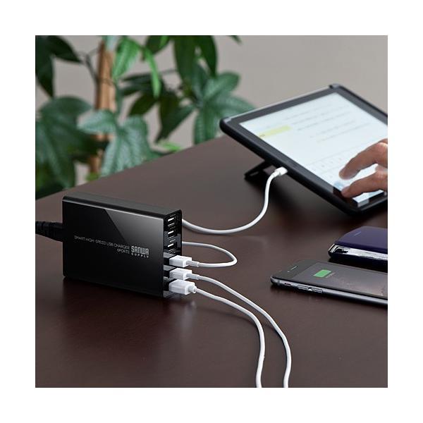 USB充電器 6ポート スマホ iPhone 急速充電 AC接続 スマホアクセサリー(即納)|sanwadirect|08