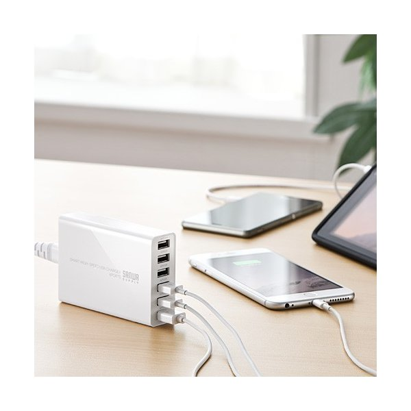USB充電器 6ポート スマホ iPhone 急速充電 AC接続 スマホアクセサリー(即納)|sanwadirect|09