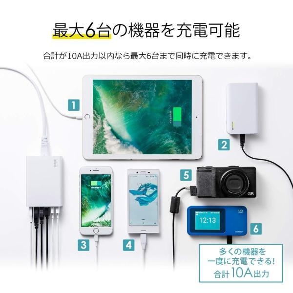 USB充電器 6ポート スマホ 充電器 ACアダプター Type-Cポート 急速充電 iPhone iPad コンセント(即納)|sanwadirect|06
