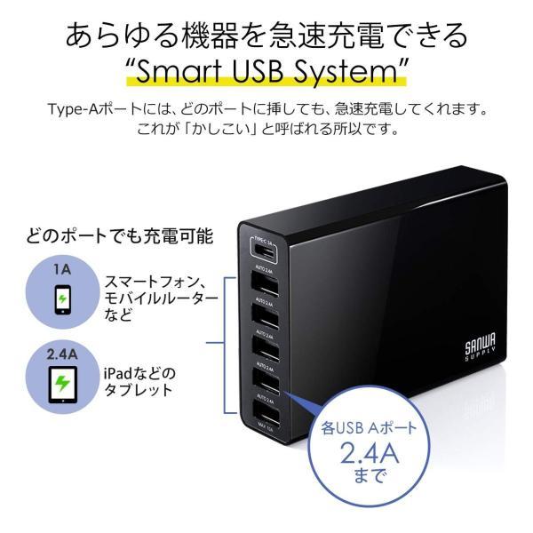 USB充電器 6ポート スマホ 充電器 ACアダプター Type-Cポート 急速充電 iPhone iPad コンセント(即納)|sanwadirect|07