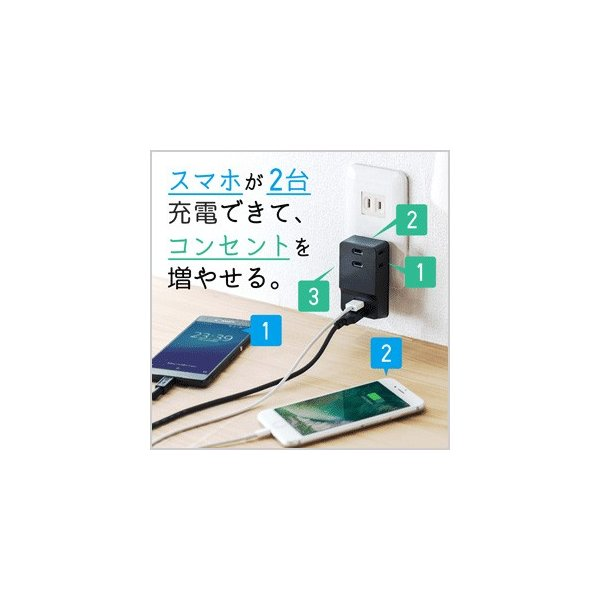 USB 充電器 コンセント スマホ iPhone 急速充電 2ポート(即納)|sanwadirect|13