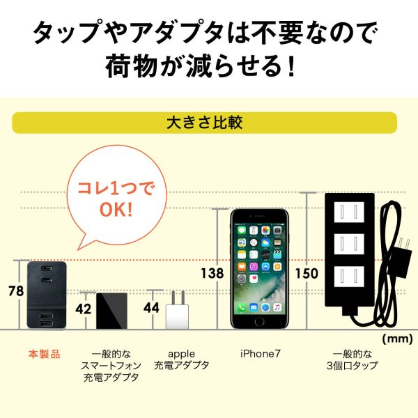 USB 充電器 コンセント スマホ iPhone 急速充電 2ポート(即納)|sanwadirect|08