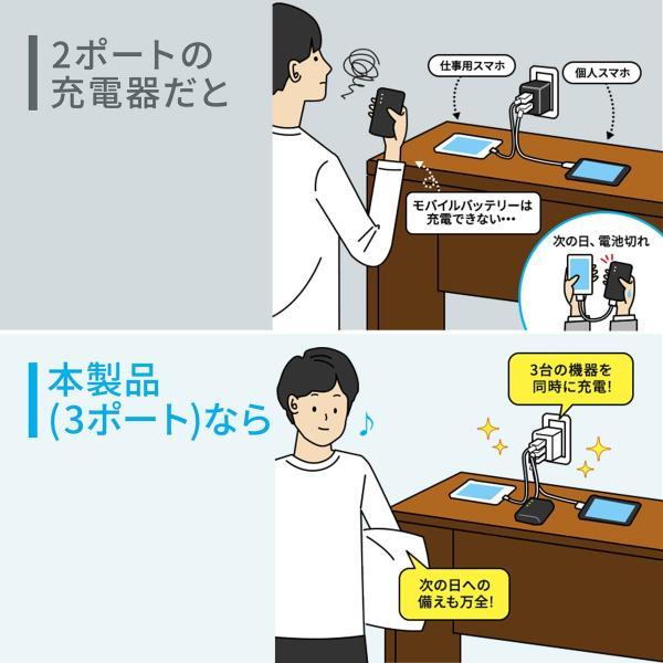 USB充電器 3ポート ACアダプター スマホ 充電 合計4.8A 出張 旅行 コンパクト(即納)|sanwadirect|05