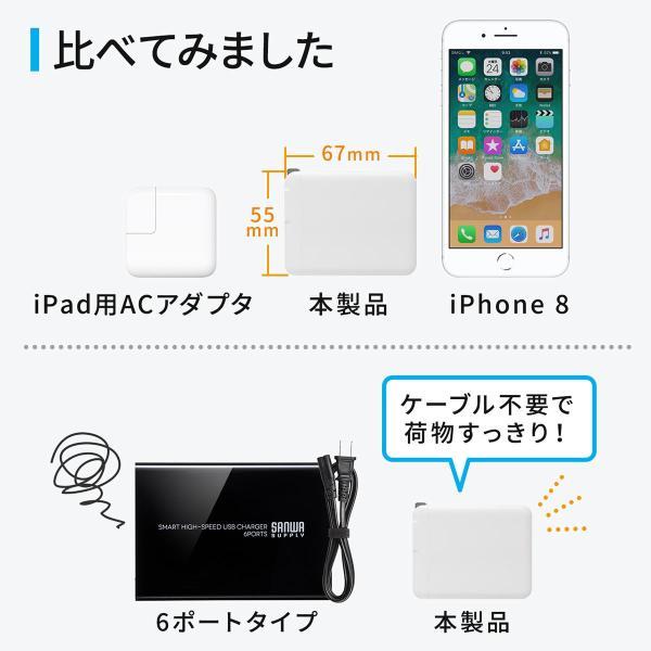 USB充電器 3ポート ACアダプター スマホ 充電 合計4.8A 出張 旅行 コンパクト(即納)|sanwadirect|07