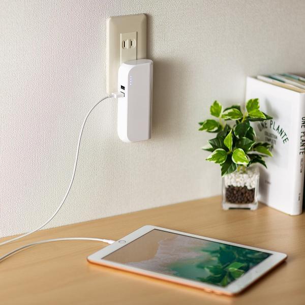 モバイルバッテリー ACプラグ コンセント 内蔵 携帯 スマホ iPhone iPad Android 2台同時充電(即納)|sanwadirect|16