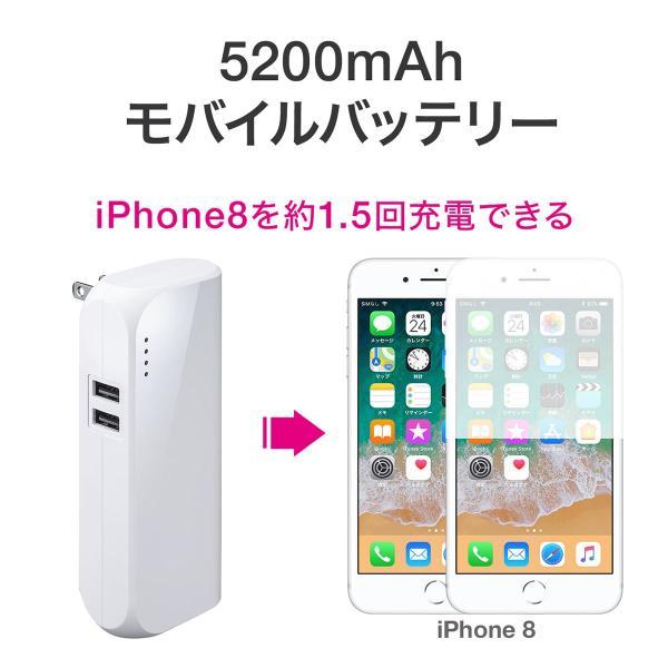 モバイルバッテリー ACプラグ コンセント 内蔵 携帯 スマホ iPhone iPad Android 2台同時充電(即納)|sanwadirect|07
