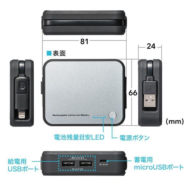 モバイルバッテリー  Lightning microUSB ケーブル収納 内蔵 ケーブル付き|sanwadirect|15