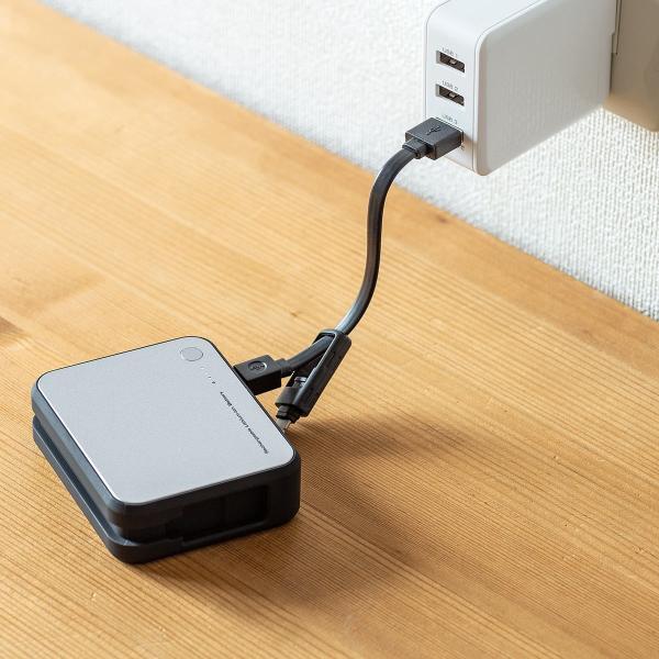 モバイルバッテリー  Lightning microUSB ケーブル収納 内蔵 ケーブル付き|sanwadirect|18