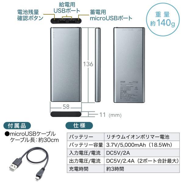 モバイルバッテリー 5000mAh 2台同時充電 軽量 コンパクト 薄型 急速充電 携帯 iPhone スマホ 充電器 PSE(即納)|sanwadirect|13
