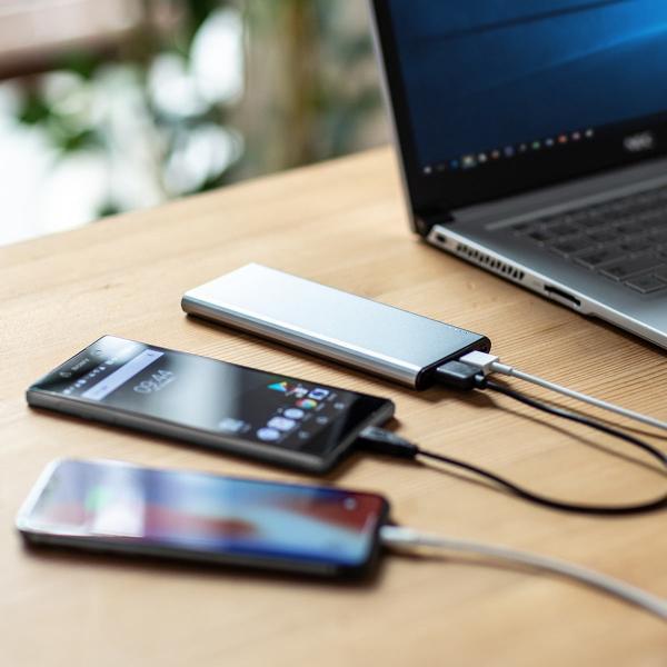 モバイルバッテリー 5000mAh 2台同時充電 軽量 コンパクト 薄型 急速充電 携帯 iPhone スマホ 充電器 PSE(即納)|sanwadirect|19
