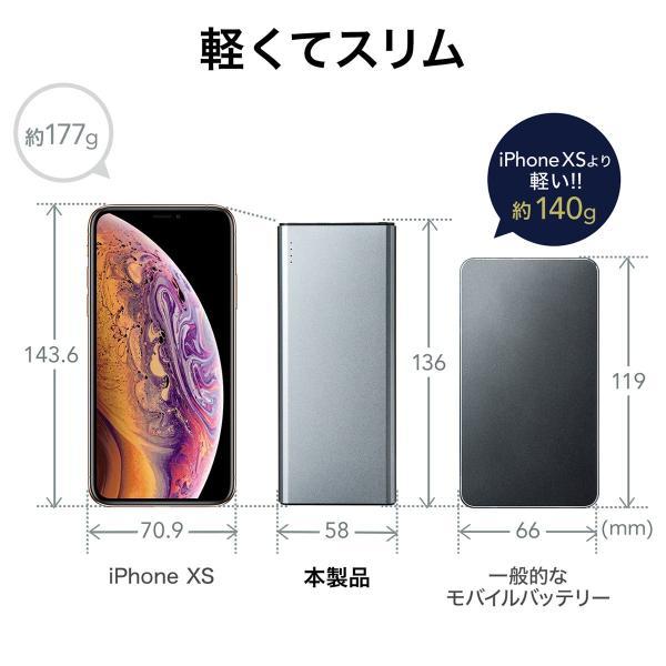 モバイルバッテリー 5000mAh 2台同時充電 軽量 コンパクト 薄型 急速充電 携帯 iPhone スマホ 充電器 PSE(即納)|sanwadirect|04
