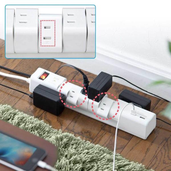 電源タップ 延長コード テーブルタップ コンセント AC6個口 USB充電付き 回転式(即納)|sanwadirect|11