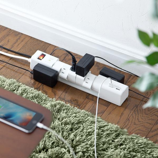 電源タップ 延長コード テーブルタップ コンセント AC6個口 USB充電付き 回転式(即納)|sanwadirect|13