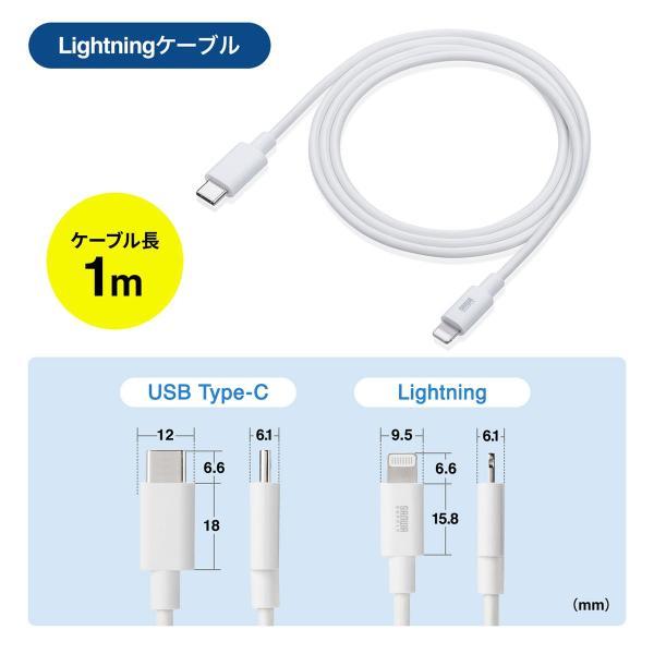 USB充電器 タイプCケーブル セット iPhone 充電 USB-C - Lightning ケーブル 充電器 セット Type Cポート 最大3A(即納)|sanwadirect|10