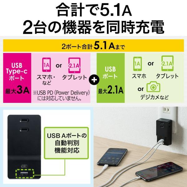 USB 充電器 コンセント スマホ iPhone 急速充電 Type-C ケーブル付き セット(即納)|sanwadirect|05