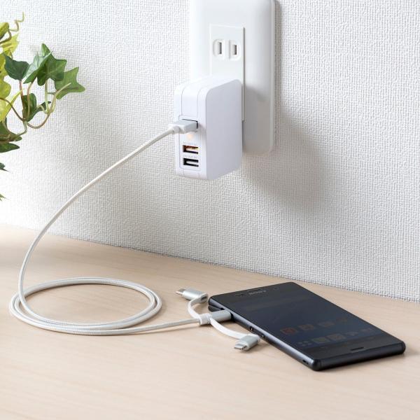 3in1 ライトニング マイクロUSB USB Type-Cケーブル Lightning microUSB Type-C対応 充電通信 1本3役+USB充電器 2A ホワイトセット|sanwadirect|12