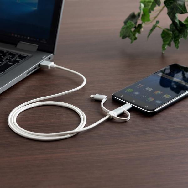3in1 ライトニング マイクロUSB USB Type-Cケーブル Lightning microUSB Type-C対応 充電通信 1本3役+USB充電器 2A ホワイトセット|sanwadirect|19