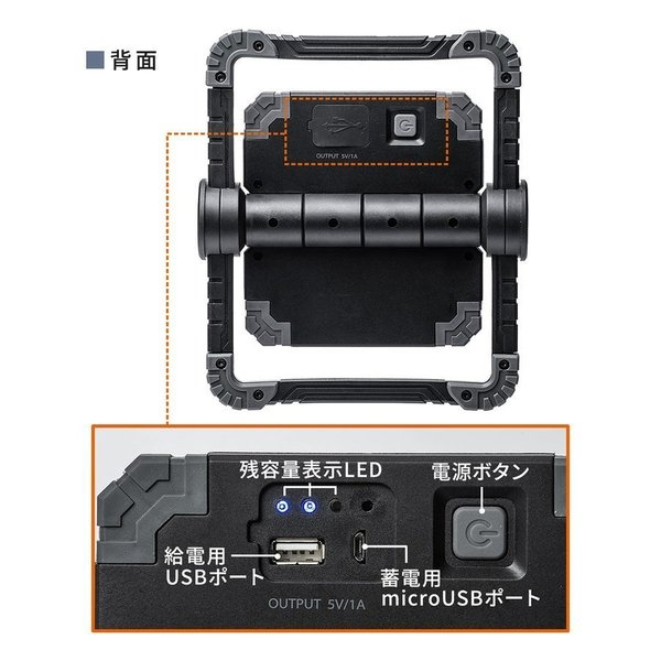LED投光器 作業灯 充電式 ワークライト 屋外 アウトドア 20W 850ルーメン(即納)|sanwadirect|16