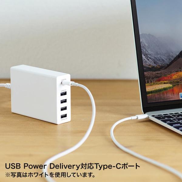 USB充電器 PD対応 Type Cポート 合計60W 5ポート ブラック(即納)|sanwadirect|11
