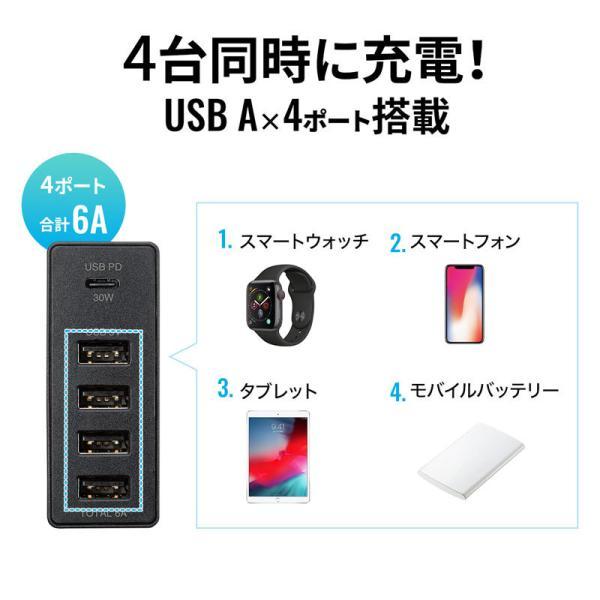 USB充電器 PD対応 Type Cポート 合計60W 5ポート ブラック(即納)|sanwadirect|06