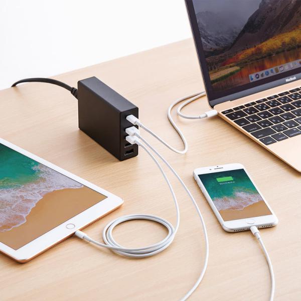 USB充電器 PD対応 Type Cポート 合計60W 5ポート ブラック(即納)|sanwadirect|08