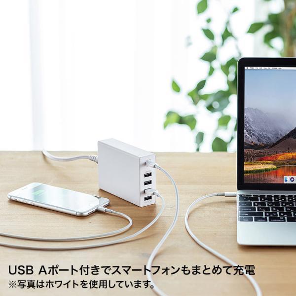 USB充電器 PD対応 Type Cポート 合計60W 5ポート ブラック(即納)|sanwadirect|09