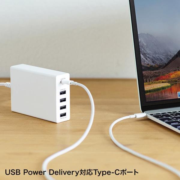 USB充電器 PD対応 Type Cポート 合計60W 5ポート ホワイト(即納)|sanwadirect|11