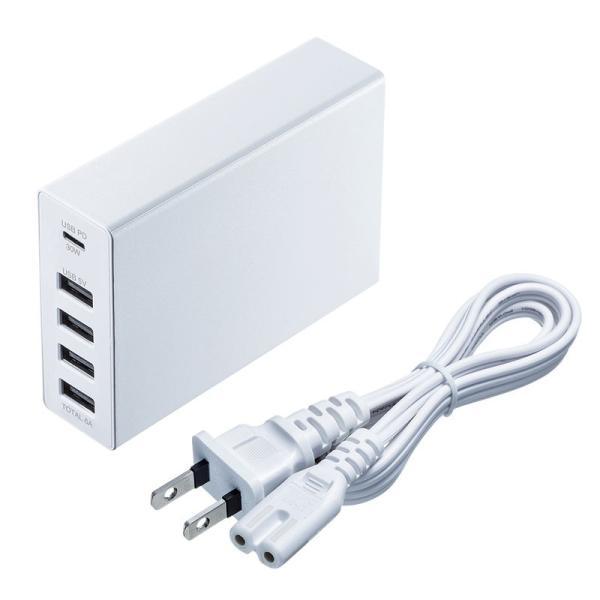 USB充電器 PD対応 Type Cポート 合計60W 5ポート ホワイト(即納)|sanwadirect|13