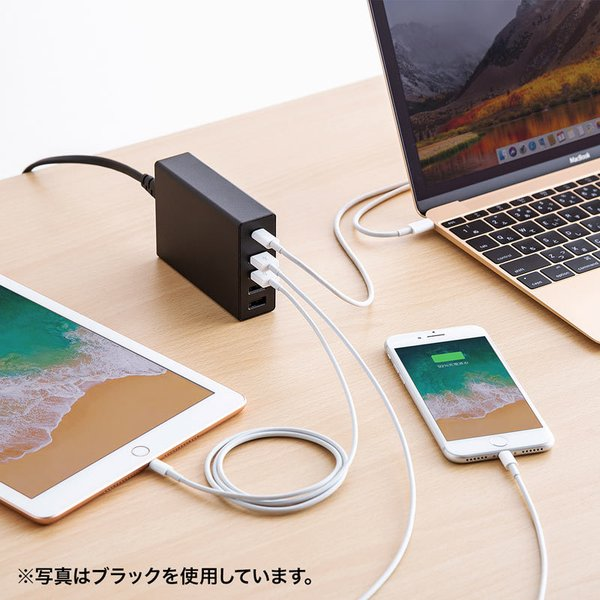 USB充電器 PD対応 Type Cポート 合計60W 5ポート ホワイト(即納)|sanwadirect|08