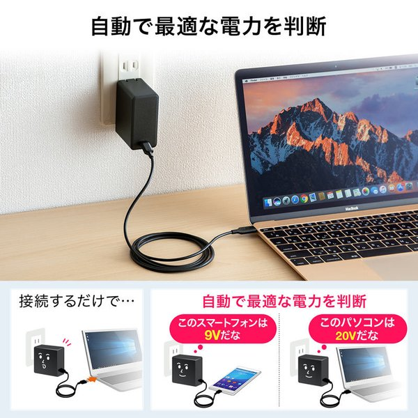 USB Power Delivery対応AC充電器 45W(即納)|sanwadirect|06
