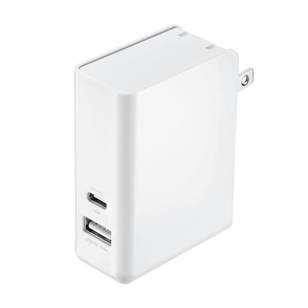 AC充電器 Type-Cポート PD対応 合計30W 2ポート(ACA-PD62W)(即納)|sanwadirect