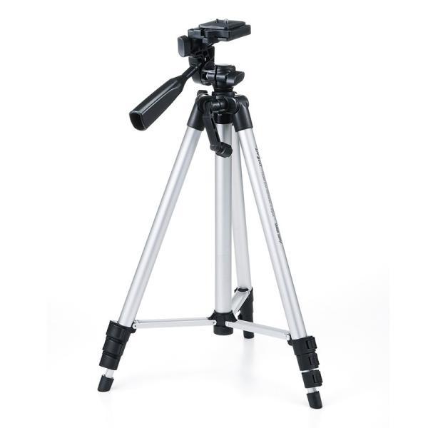 軽量!アルミ製カメラ三脚 4段伸縮・シルバー(DG-CAM18)【ストア名:サンワダイレクト】