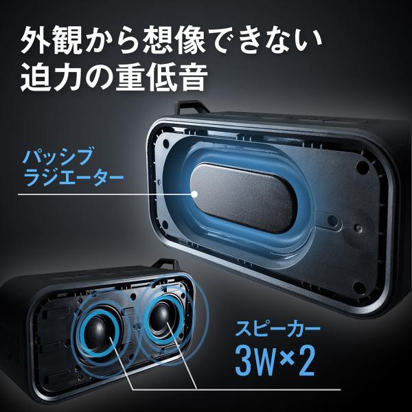 Bluetoothスピーカー 防水 ワイヤレススピーカー ブルートゥース iPhone スマホ 高音質 大音量 重低音 ポータブル 連続8時間再生|sanwadirect|02