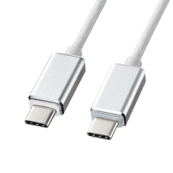 MacBook用TypeC充電ケーブル PD対応 LED付き 1.5m ホワイト(即納)|sanwadirect