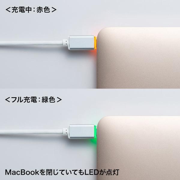 MacBook用TypeC充電ケーブル PD対応 LED付き 1.5m ホワイト(即納)|sanwadirect|05
