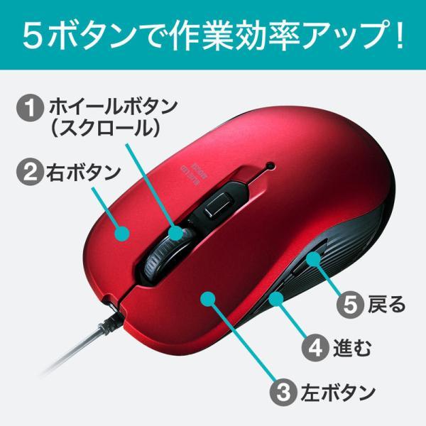 有線ブルーLEDマウス 5ボタン レッド(MA-BL114R)(即納)|sanwadirect|04