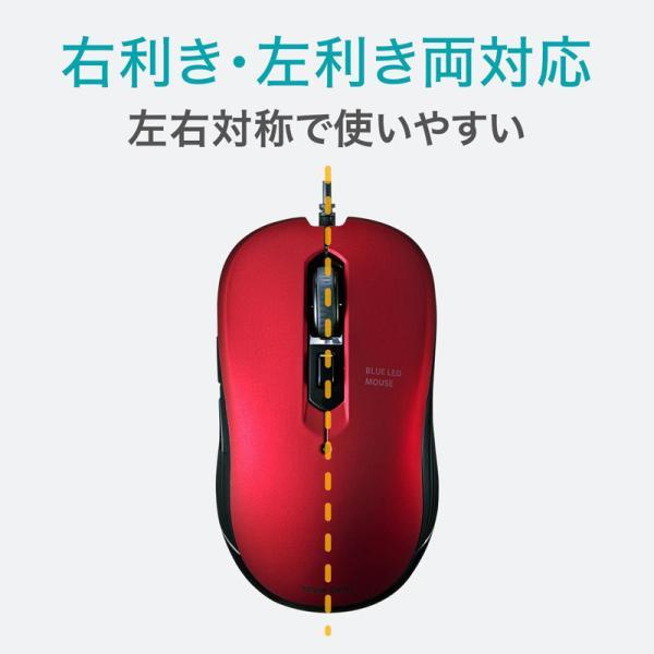 有線ブルーLEDマウス 5ボタン レッド(MA-BL114R)(即納)|sanwadirect|06