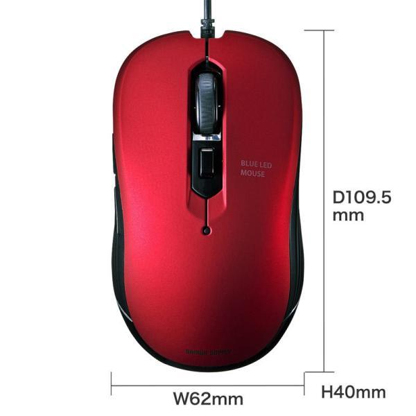 有線ブルーLEDマウス 5ボタン レッド(MA-BL114R)(即納)|sanwadirect|10
