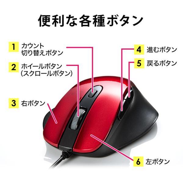 有線マウス ブルーLED レッド(即納) sanwadirect 06