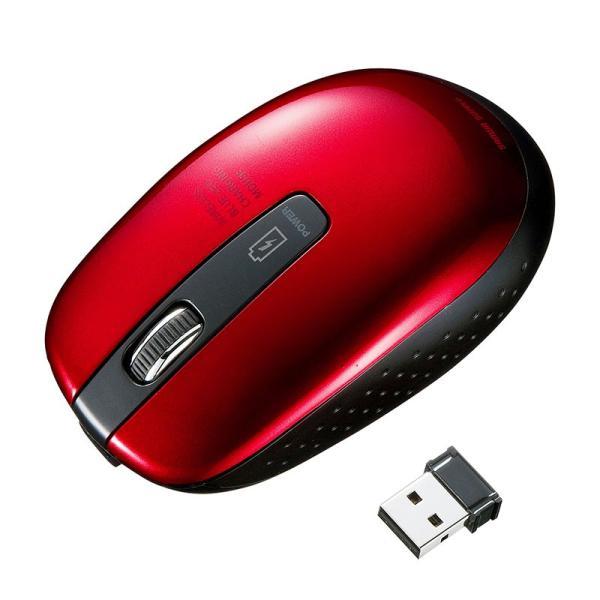 ワイヤレスブルーLEDマウス 充電式 レッド(MA-WBL118R)(即納)|sanwadirect
