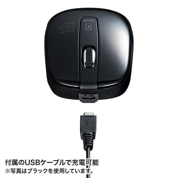 ワイヤレスブルーLEDマウス 充電式 レッド(MA-WBL118R)(即納)|sanwadirect|03