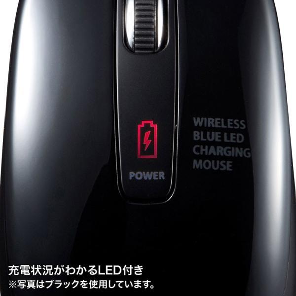 ワイヤレスブルーLEDマウス 充電式 レッド(MA-WBL118R)(即納)|sanwadirect|04