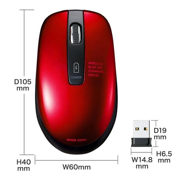 ワイヤレスブルーLEDマウス 充電式 レッド(MA-WBL118R)(即納)|sanwadirect|10