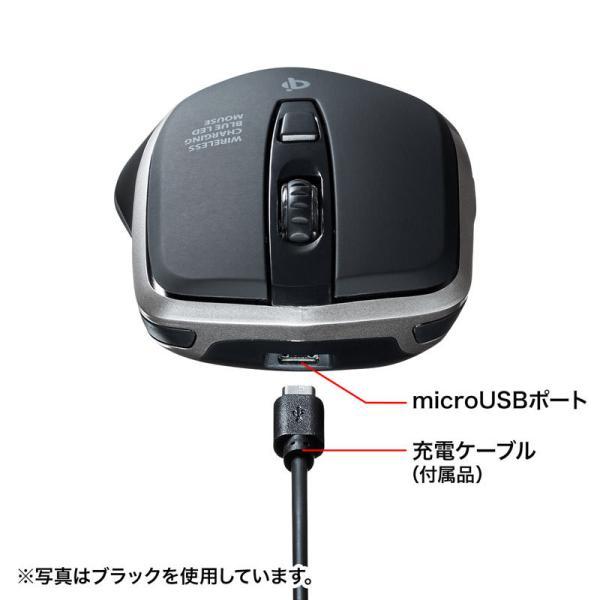 ワイヤレスマウス 充電式  バッテリーフリー 電池交換不要 ブルーLED Qi対応 置くだけ充電 レッド(MA-WBL157R)(即納)|sanwadirect|16