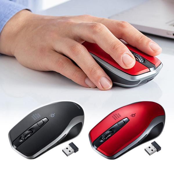 ワイヤレスマウス 充電式  バッテリーフリー 電池交換不要 ブルーLED Qi対応 置くだけ充電 レッド(MA-WBL157R)(即納)|sanwadirect|03