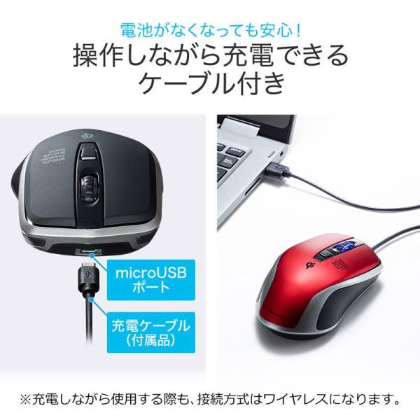 ワイヤレスマウス 充電式  バッテリーフリー 電池交換不要 ブルーLED Qi対応 置くだけ充電 レッド(MA-WBL157R)(即納)|sanwadirect|05