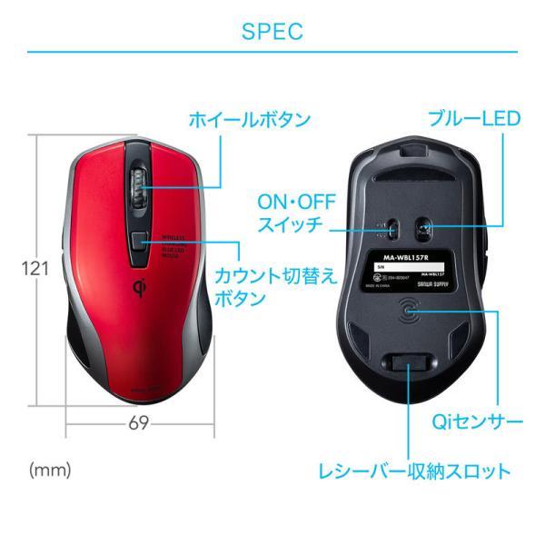 ワイヤレスマウス 充電式  バッテリーフリー 電池交換不要 ブルーLED Qi対応 置くだけ充電 レッド(MA-WBL157R)(即納)|sanwadirect|08